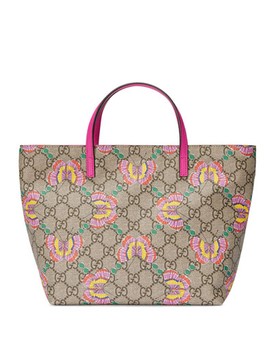 Girls' GG Supreme Butterfly Tote Bag, Beige