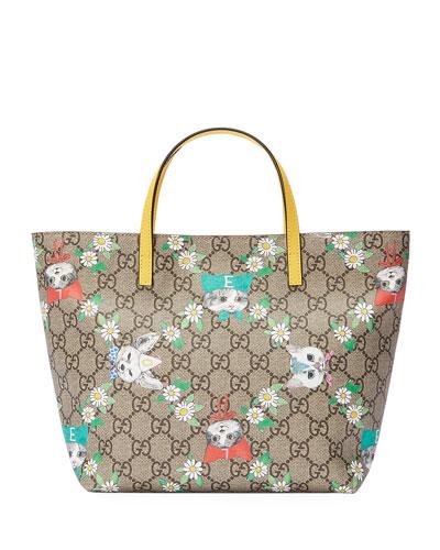 Girls' GG Supreme Pets Tote Bag, Beige