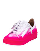 Smuggy Graffiti-Print Leather Sneaker, Toddler Sizes 4-9