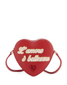 Girls' L'Amore Heart-Shaped Leather Crossbody Bag