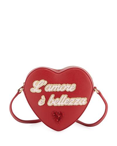 Girls' L'Amore Heart-Shaped Leather Crossbody Bag