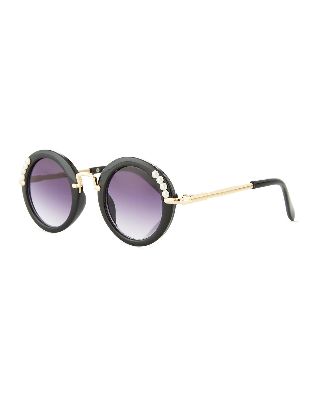 Girls Round Gradient Sunglasses w Simulated Pearls