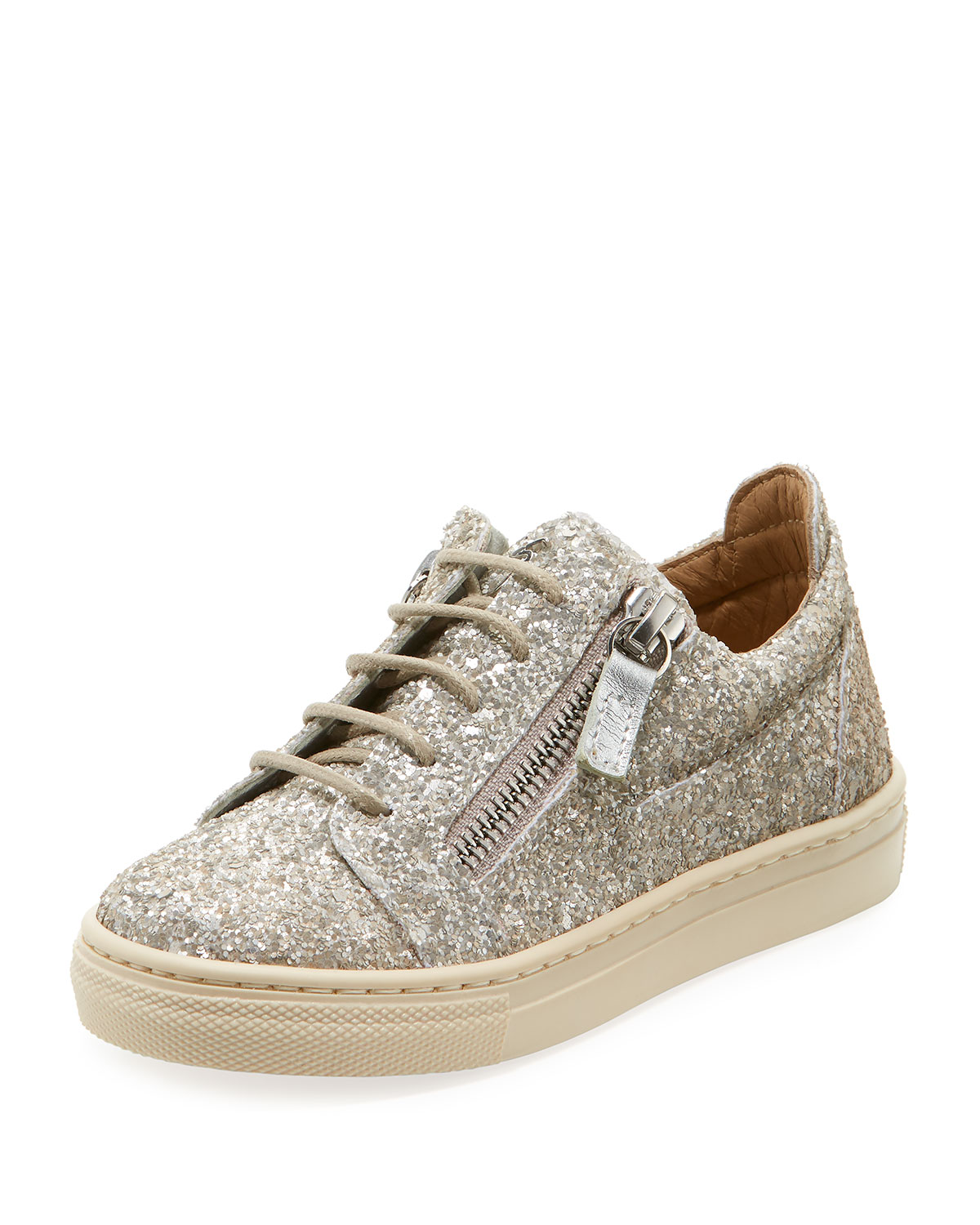 Glittered Low-Top Double Zip Sneakers, Toddler/Kid in Champagne Silver