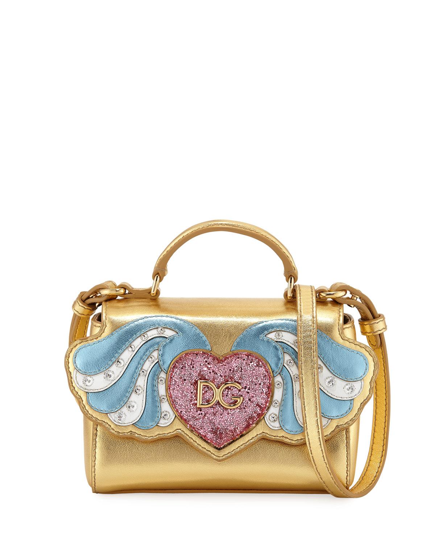 Girls' Metallic Leather Heart Wings Top-Handle Shoulder Bag