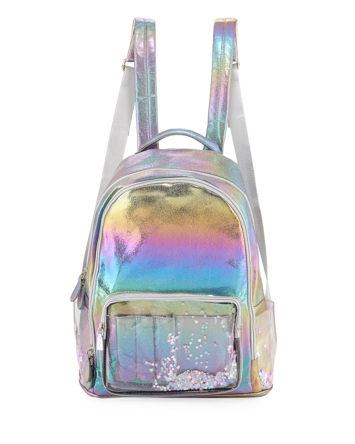 Galaxy Holographic Backpack w/ Floating Heart Confetti Pockets