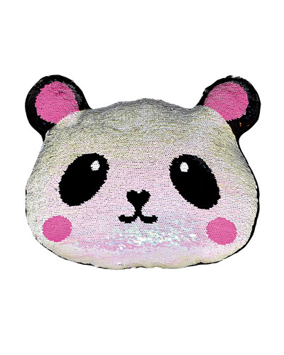 Kids' Sequin Panda Pillow