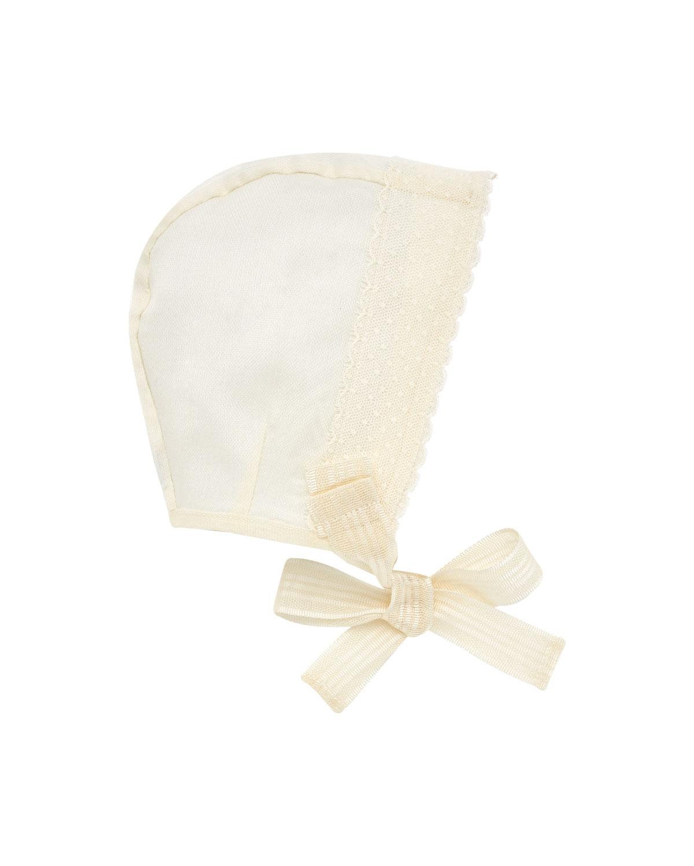 Silk Organdy Scalloped-Trim Baby Bonnet