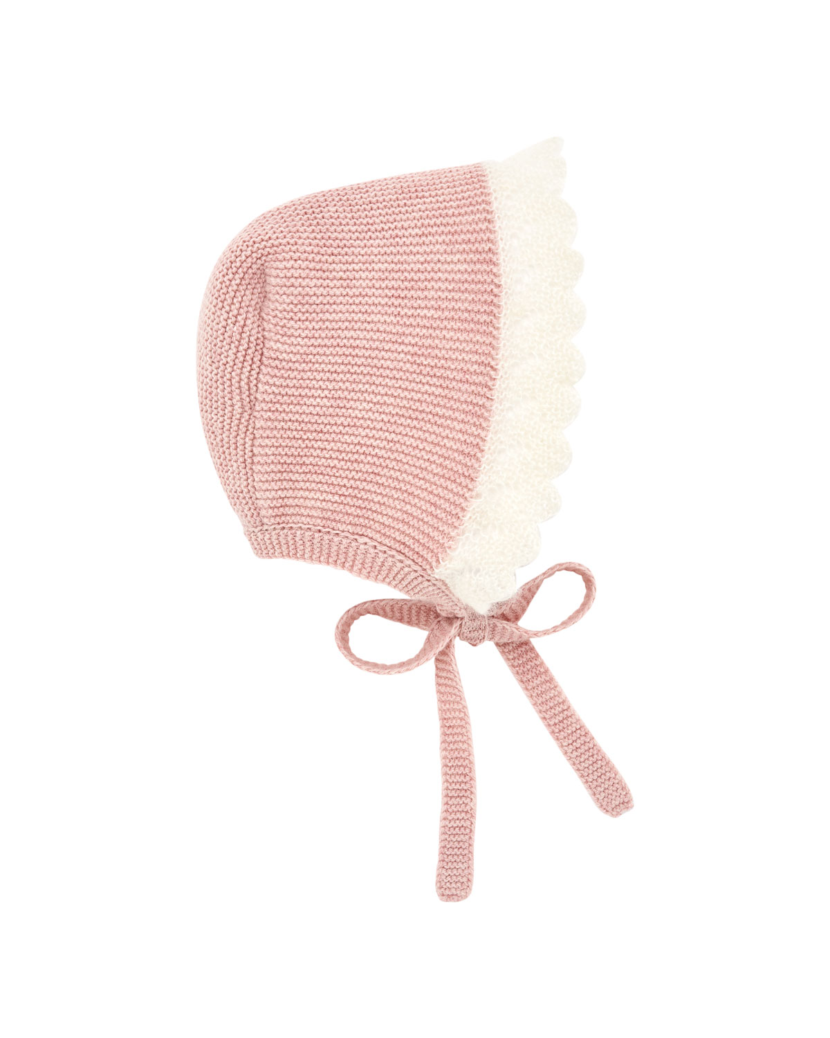 Two-Tone Knit Baby Bonnet with Mohair Trim