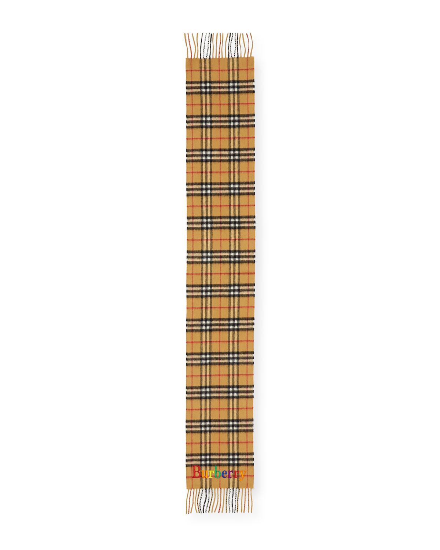 Kids' Cashmere Check Scarf w/ Rainbow Logo Embroidery