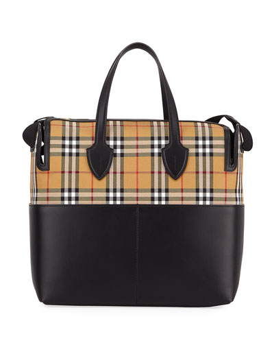 893d09213cff Quick Look. Burberry · Kingswood Vintage Check   Leather Diaper Bag.  Available in Black