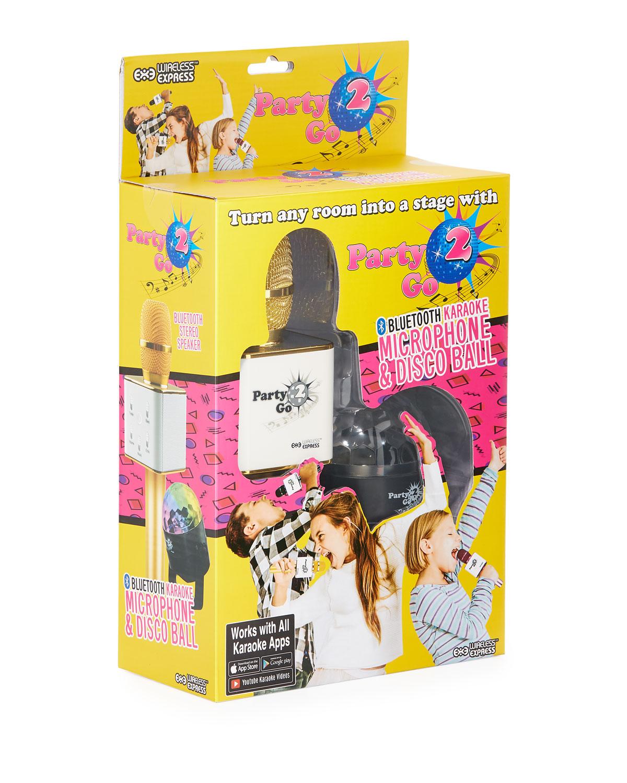 Party 2 Go Bluetooth Karaoke Microphone  Disco Ball