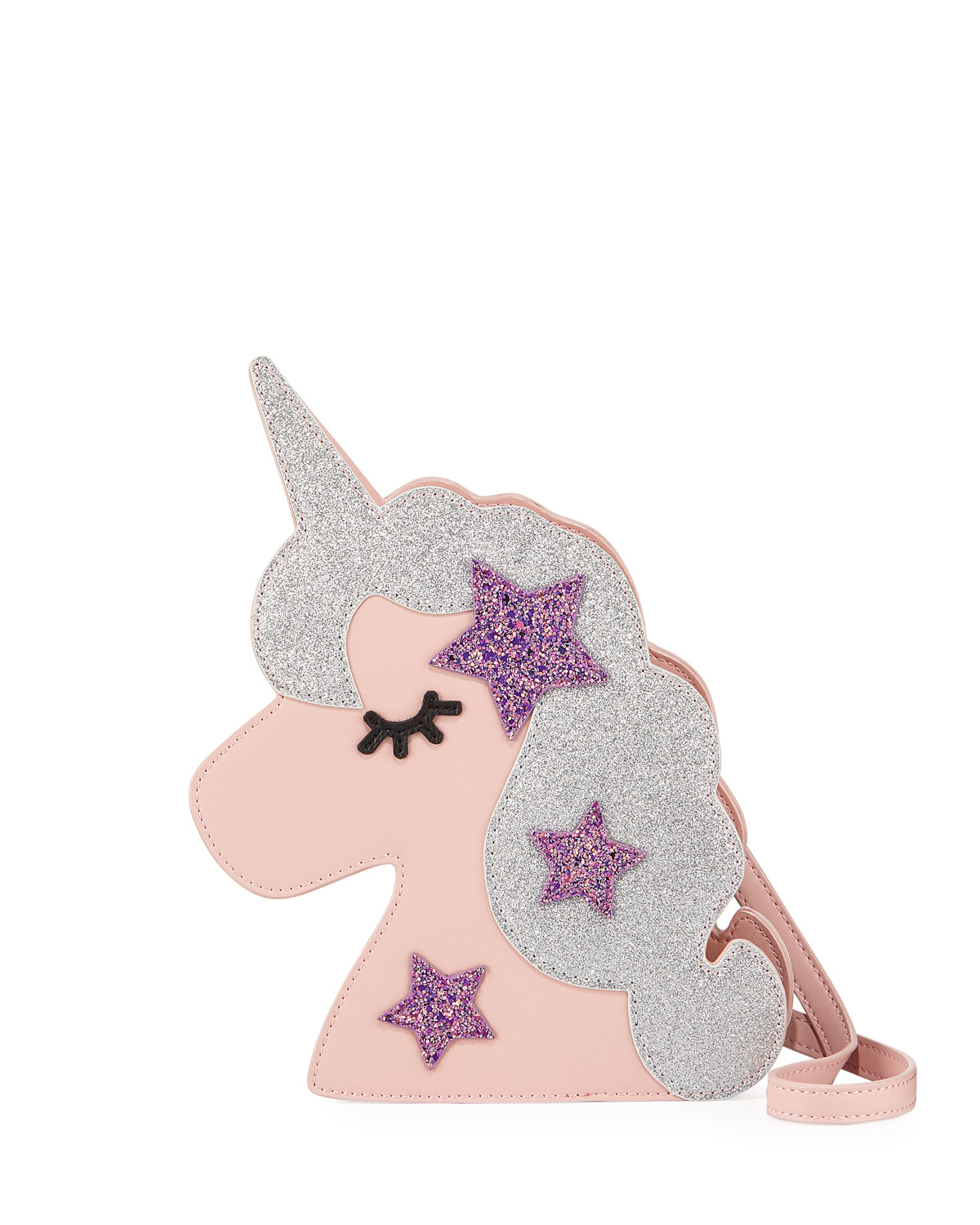 Girls' Faux-Leather Glittered Unicorn Crossbody Bag
