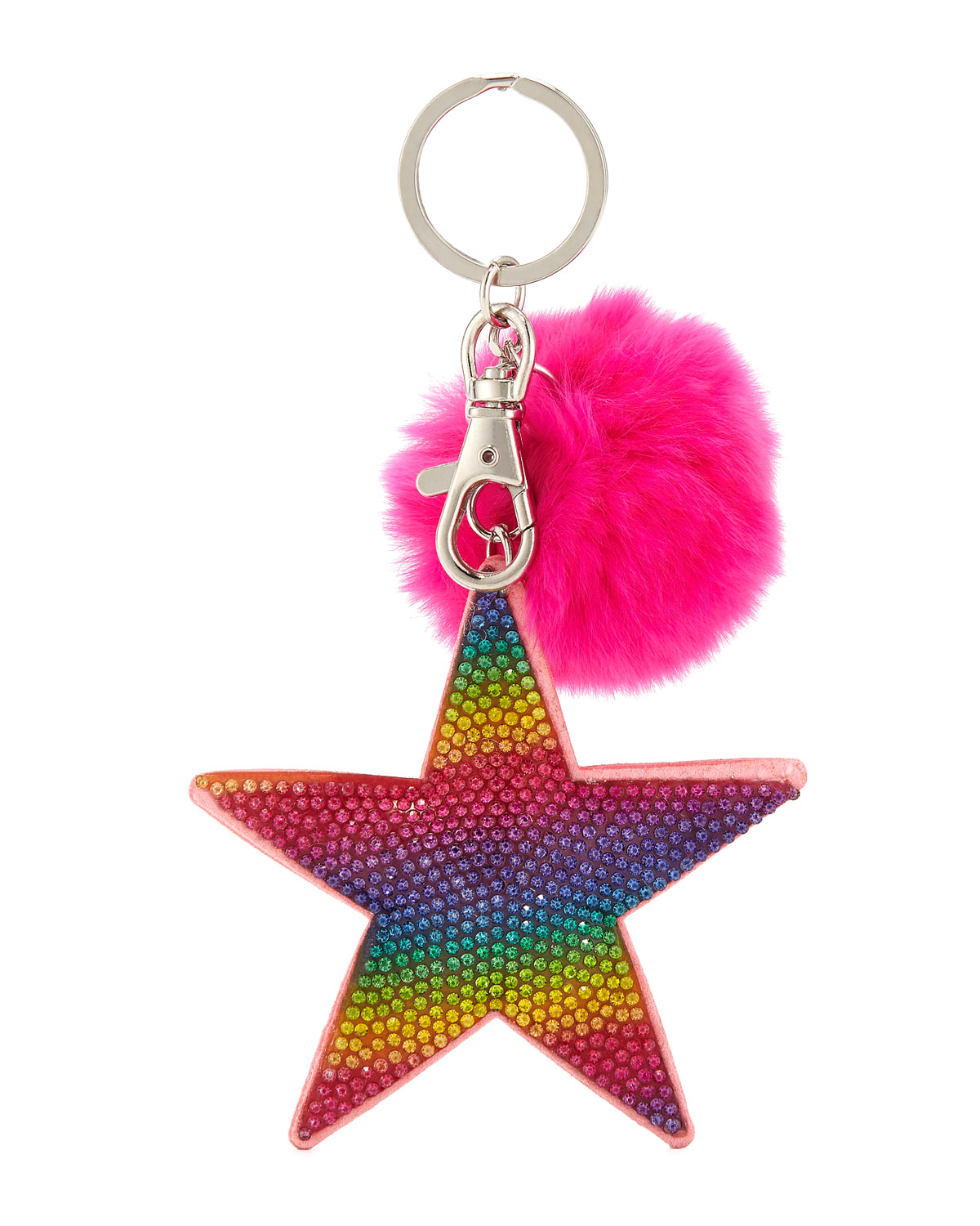Girls' Crystal Rainbow Star Key Chain w/ Fur Pompom