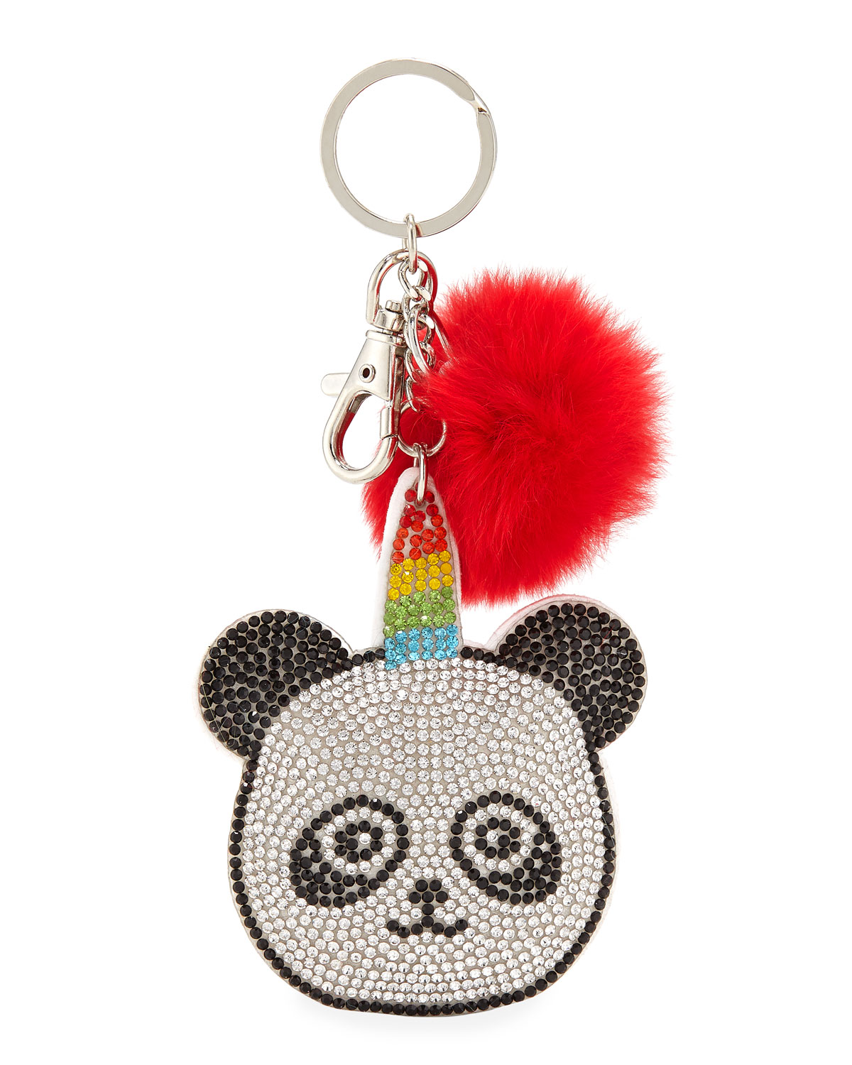 Girls' Crystal Panda Key Chain w/ Fur Pompom