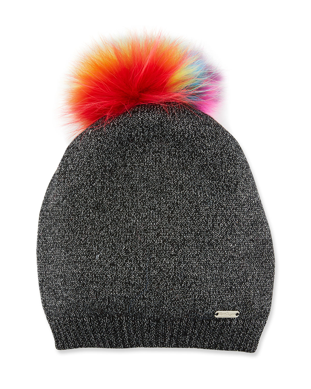 Girls' Sparkle Slouch Beanie Hat w/ Fur Pompom