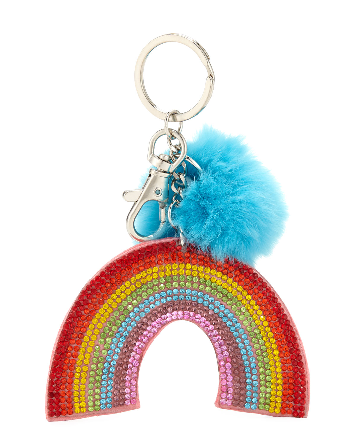 Girls' Crystal Rainbow Key Chain w/ Fur Pompom