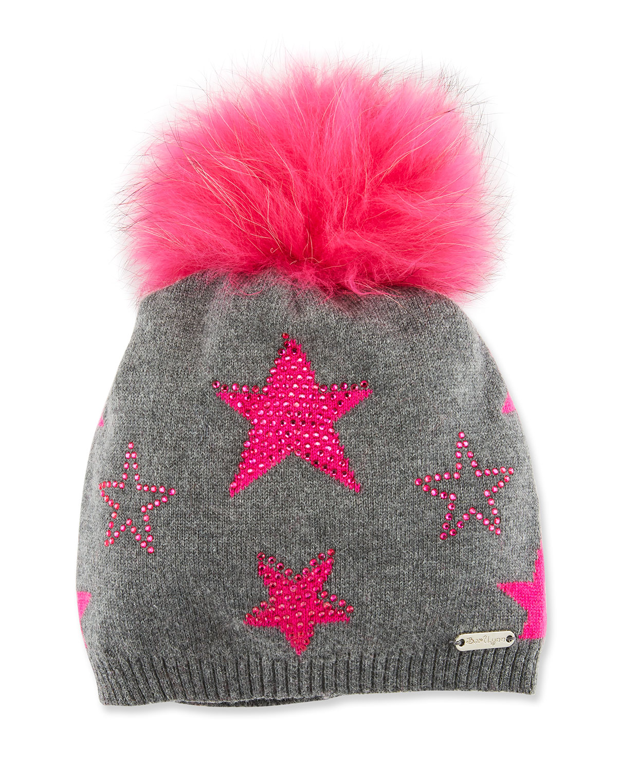 Girls' Crystal Star Studded Beanie Hat w/ Fur Pompom
