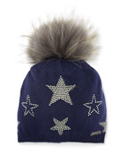 Bari Lynn Girls' Crystal Star Studded Beanie Hat