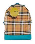 Burberry Kids' Nico Check Backpack w/ Sun Logo