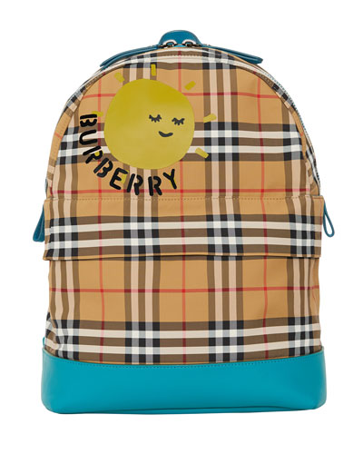 Kids' Nico Check Backpack w/ Sun Logo