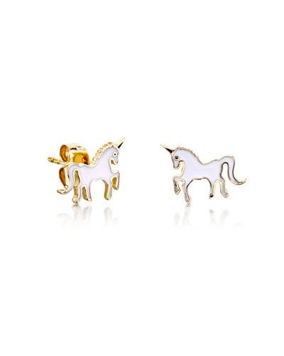 0dab865ba Quick Look. Sydney Evan · Girls' Gold Unicorn Enamel Stud Earrings