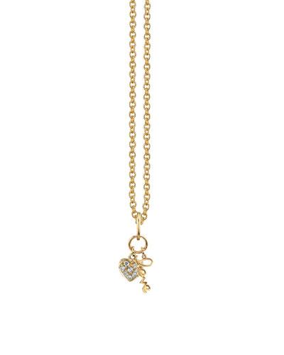 Love Duo Charm Necklace w/ Diamonds, Youth 7-14
