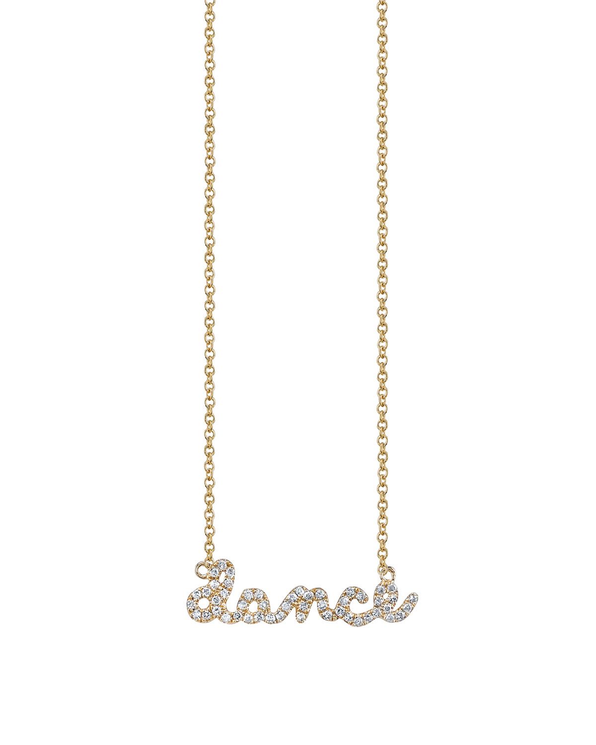 Sydney Evan Jewelry 14k Yellow Gold Dance Script Necklace, Youth 7-14