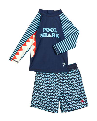 Pool Shark Rash Guard w/ Printed Swim Trunks, Size 6M-4