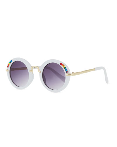Kids' Round Sunglasses w/ Rainbow Swarovski Crystals