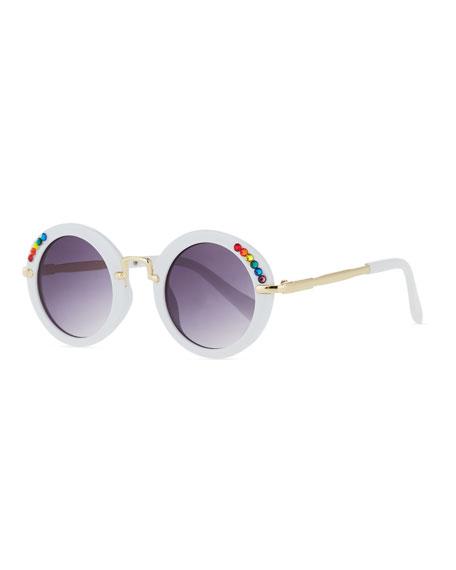 Bari Lynn Kids' Round Sunglasses w/ Rainbow Swarovski Crystals