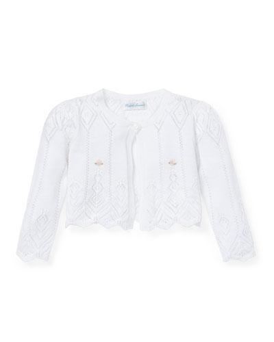 Cotton Pointelle Knit Shrug Sweater, Size 6-24 Months
