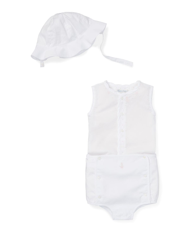 Ralph Lauren Childrenswear Kids' Three-piece Outfit Sun Set In White Pattern