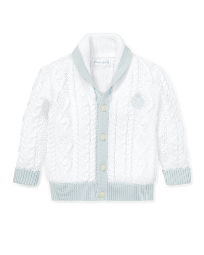 Two-Tone Aran & Cable Knit Cardigan, Size 6-24 Months