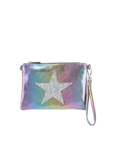 Girls' Glitter Star Iridescent Crossbody Bag