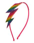 Bari Lynn Girls' Rainbow Lightning Bolt Crystal Headband