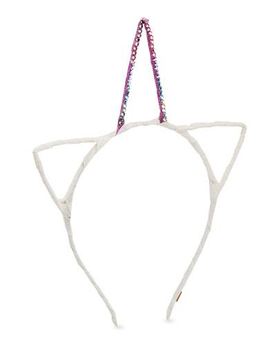 Girls' Crystal Glitter Unicorn Horn & Cat Ears Headband