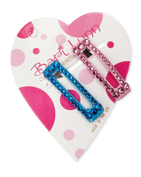 Bari Lynn Aqua & Pink Crystal Hair Clip Set
