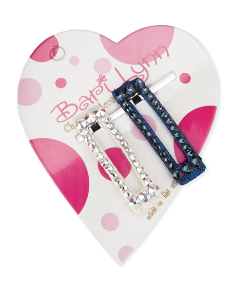Bari Lynn Navy & White Crystal Hair Clip Set