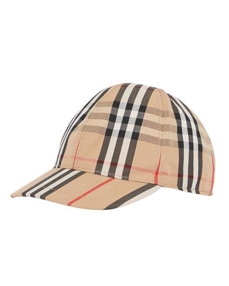 Burberry Kid's Check & Icon Stripe Baseball Cap