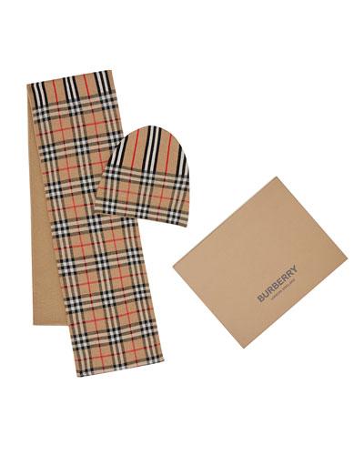 Kid's Check & Icon Stripe Scarf & Hat Set