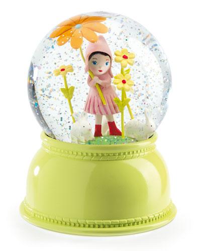 Sweet Girl Snow Globe Night Light