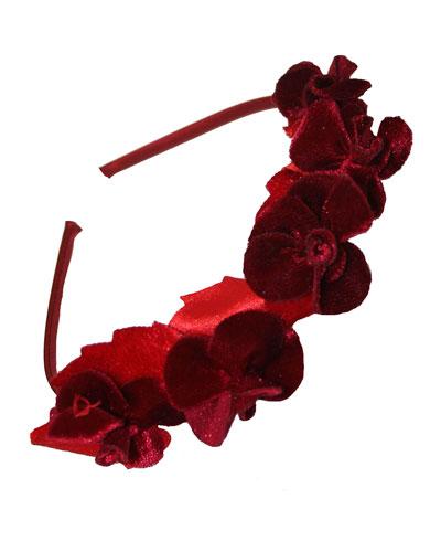 Girls' Velvet Flowers Headband