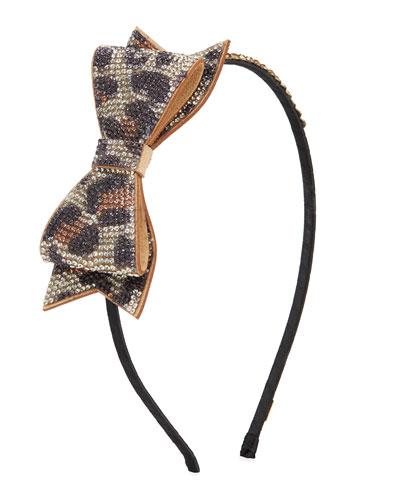 Girl's Crystal Leopard Bow Headband