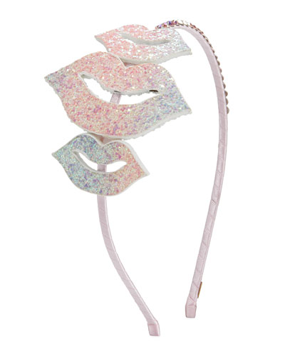 Girl's Glitter Lips Headband w/ Crystal Trim