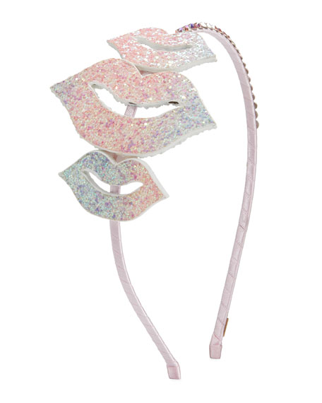 Bari Lynn Girl's Glitter Lips Headband w/ Crystal Trim