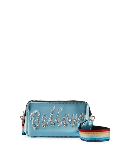 Girl's Believe Camera Bag w/ Rainbow Strap