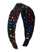 Bari Lynn Girl's Multicolored Star-Print Knit Headband w/