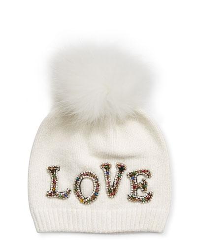 Girl's Scattered Love Lurex Beanie Hat w/ Fur Pompom