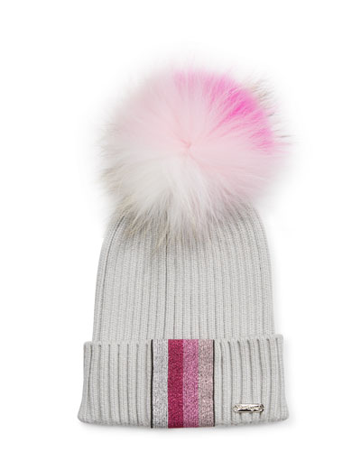 Ribbed Lurex Taping Beanie Hat w/ Fur Pompom