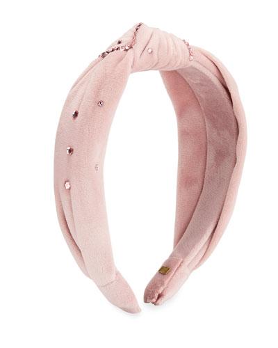 Girl's Velvet Knotted Headband w/ Swarovski Crystals